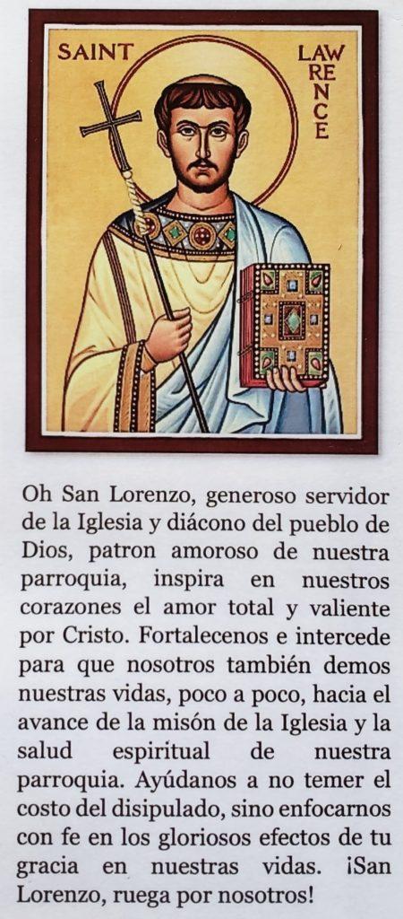 Oración a San Lorenzo
